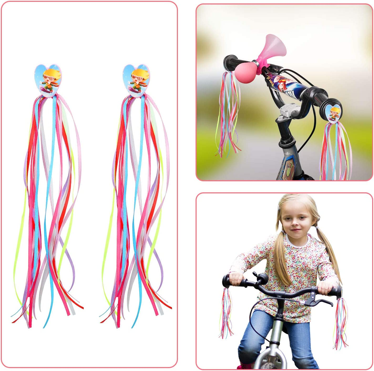 QKURT Kids Bike Streamers//Bike Horn Childrens Bicycle Accessories for Gilrs//Boys