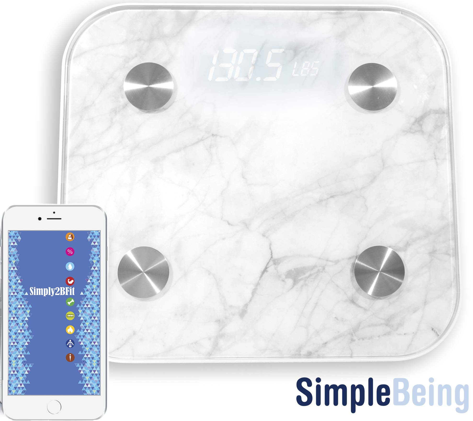 Simple Being Bluetooth Body Fat Scale, Smart Wireless Digital Bathroom Weighing Scale 400LB Capacity, Measures Weight, Water, Muscle Mass, BMI, Bone Mass, Visceral Fat, Calorie, with iOS, Android App by Simple Being