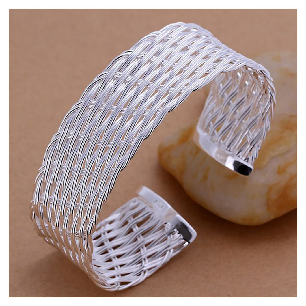 SIENNA693 Silver Plated Bangle Bracelets Web Bangle/ 925 Silver Jewelry Fashion Gift for BFF SU684
