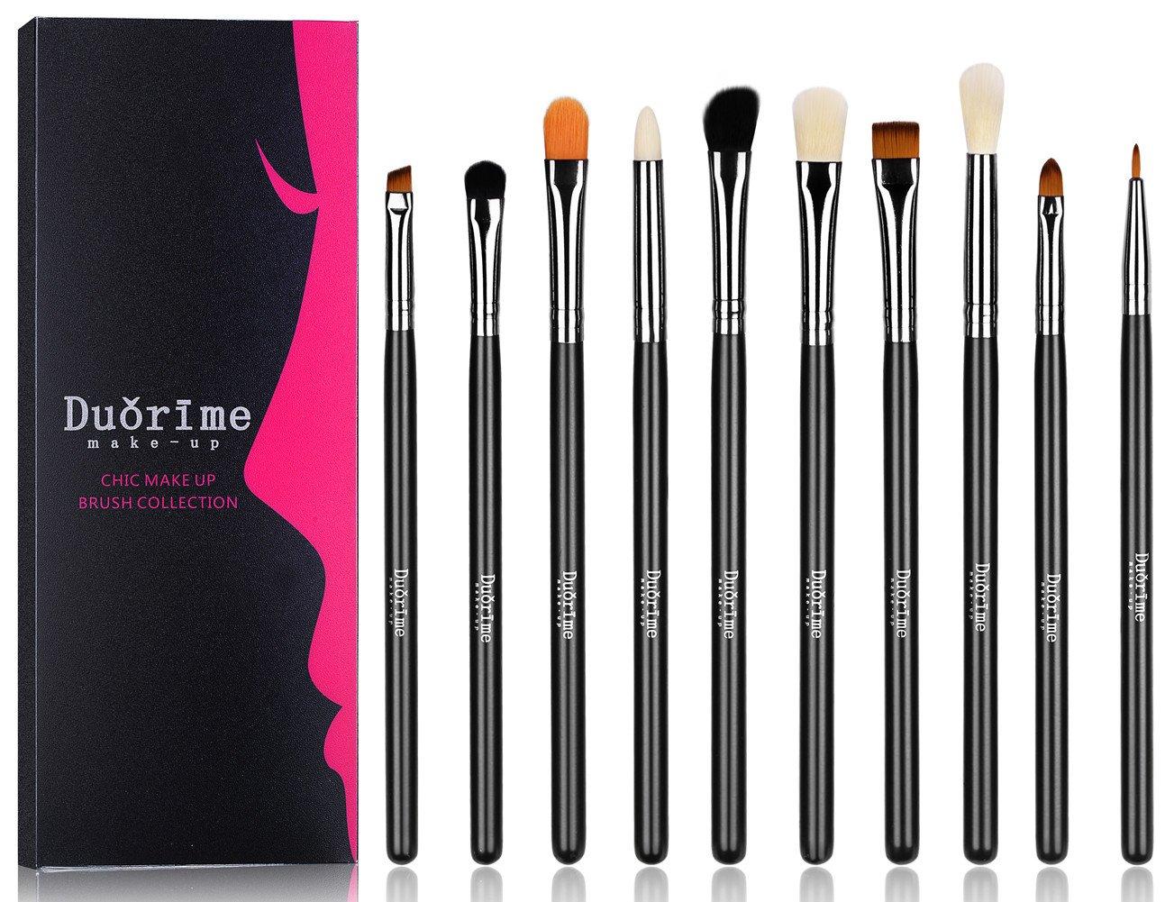 Duorime Makeup Brushes 10pcs Makeup Brush Kit for Foundation Eyeshadow Eyeliner Eyebrow Blending Lip Brush Set wooden handles