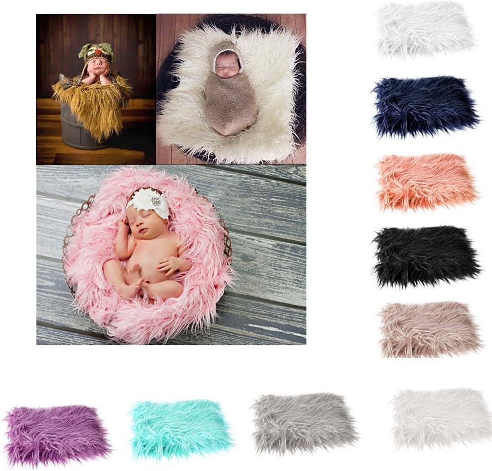 PIXNOR Baby Newborn Photography Photo Props DIY Soft Fur Photographic Mat Blanket Rug Light Grey