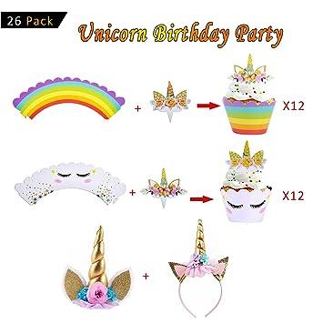 Amaza Cumpleaños Cupcakes Decoracion, 24pcs Unicornio Topper Tarta + 24pcs Unicorno Cupcake Wrapper+ 2pcs Diadema Unicornio, Decoraciones de ...