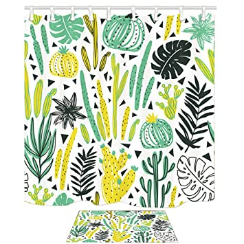 amazon com nymb wild tropical rainforest cactus plant decornymb wild tropical rainforest cactus plant decor, watercolor cactus with monstera leaves, 69x70in mildew