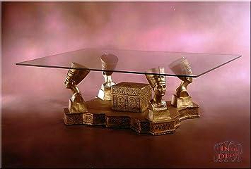 Gyptische Couchtisch Nofretete Antik Wohnzimmertisch Tisch Glastisch Luxusmbel