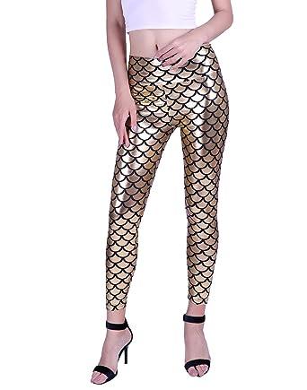 74a2ab3614ec52 HDE Women Shiny Liquid Wet Look Metallic Fish Scale High Waist Mermaid  Leggings (Gold)