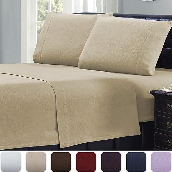 Mellanni Queen Flannel Sheet Set - 4 pc Luxury 100% Cotton - Lightweight Bed Sheets - Cozy, Soft, Warm, Breathable Bedding - Deep Pockets - All Around Elastic (Queen, Beige)