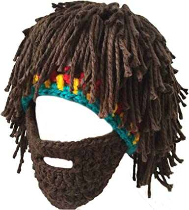 Men Women Ladies Knitted Winter Beanie Hat Cap Beard Wig Warm Funny Ski Mask