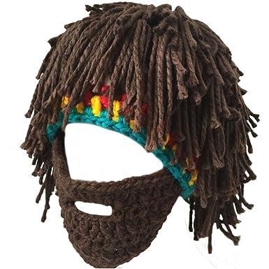 203aea20a2610 Lerben Men Women Knit Bearded Hats Handmade Wig Winter Warm Ski Mask Beanie  (Brown(2))  Amazon.co.uk  Clothing