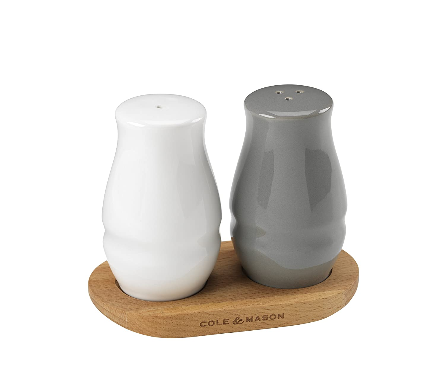 Cole & Mason Salt Pepper Shakers Ceramics White Grey 28 x 28 x 18