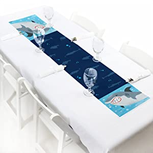 Big Dot of Happiness Shark Zone - Petite Jawsome Shark Viewing Week Party or Birthday Party Paper Table Runner - 12 x 60 inches