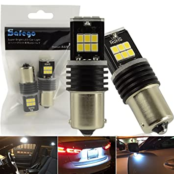 Safego 2x BA15S 1156 Super Brillante Bombillas LED 15-2835SMD Coche Luz de Marcha Atrás, Luz de Freno 1141 1651 12V Blanco 6000K: Amazon.es: Coche y moto