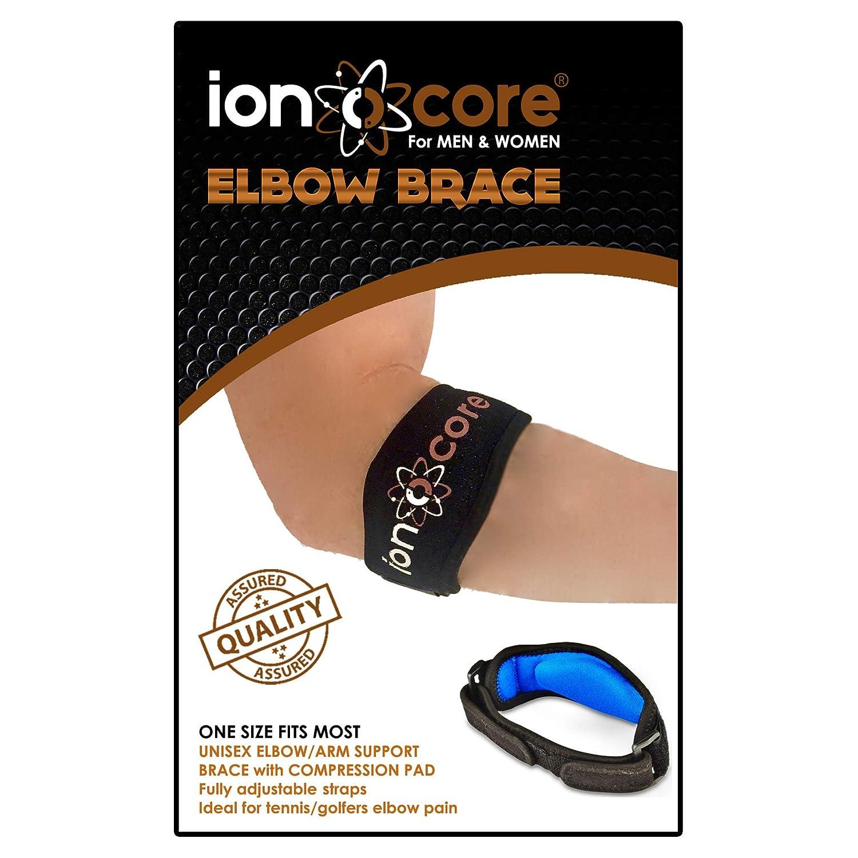 Ionocore� - Tutore per gomito, per cura del gomito del tennista e strappi, leggero e regolabile con cuscinetto di compressione in EVA, taglia unica (1)