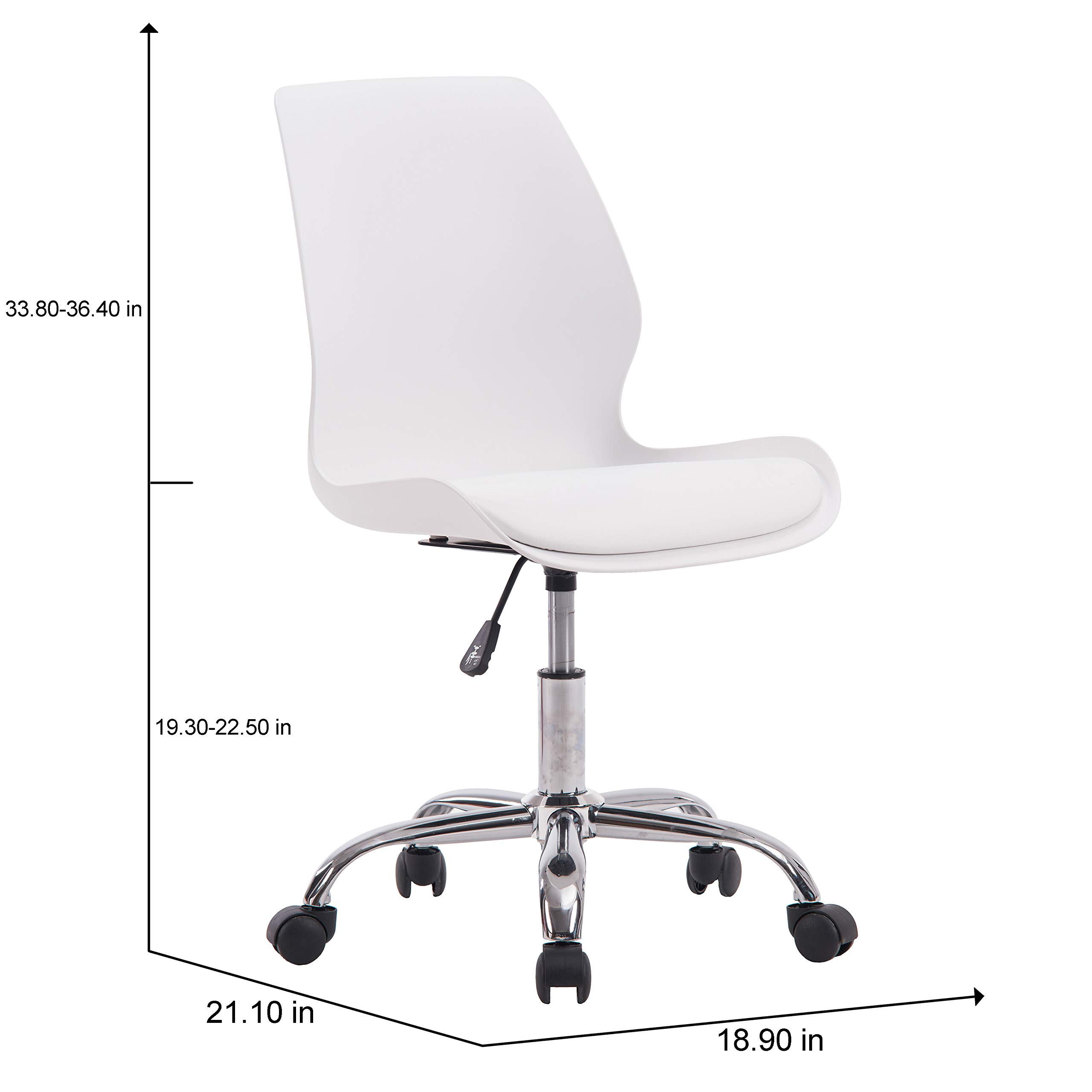 Porthos Home LVC006A WHT Adjustable Height Office Desk Chair with Wheels, Easy Assembly, White or Black, One Size by Porthos Home (Image #5)