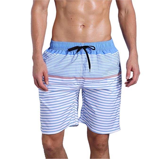 b2bc434d4a ORANSSI Men's Quick Dry Swim Trunks Bathing Suit Striped Shorts with  Pockets Blue