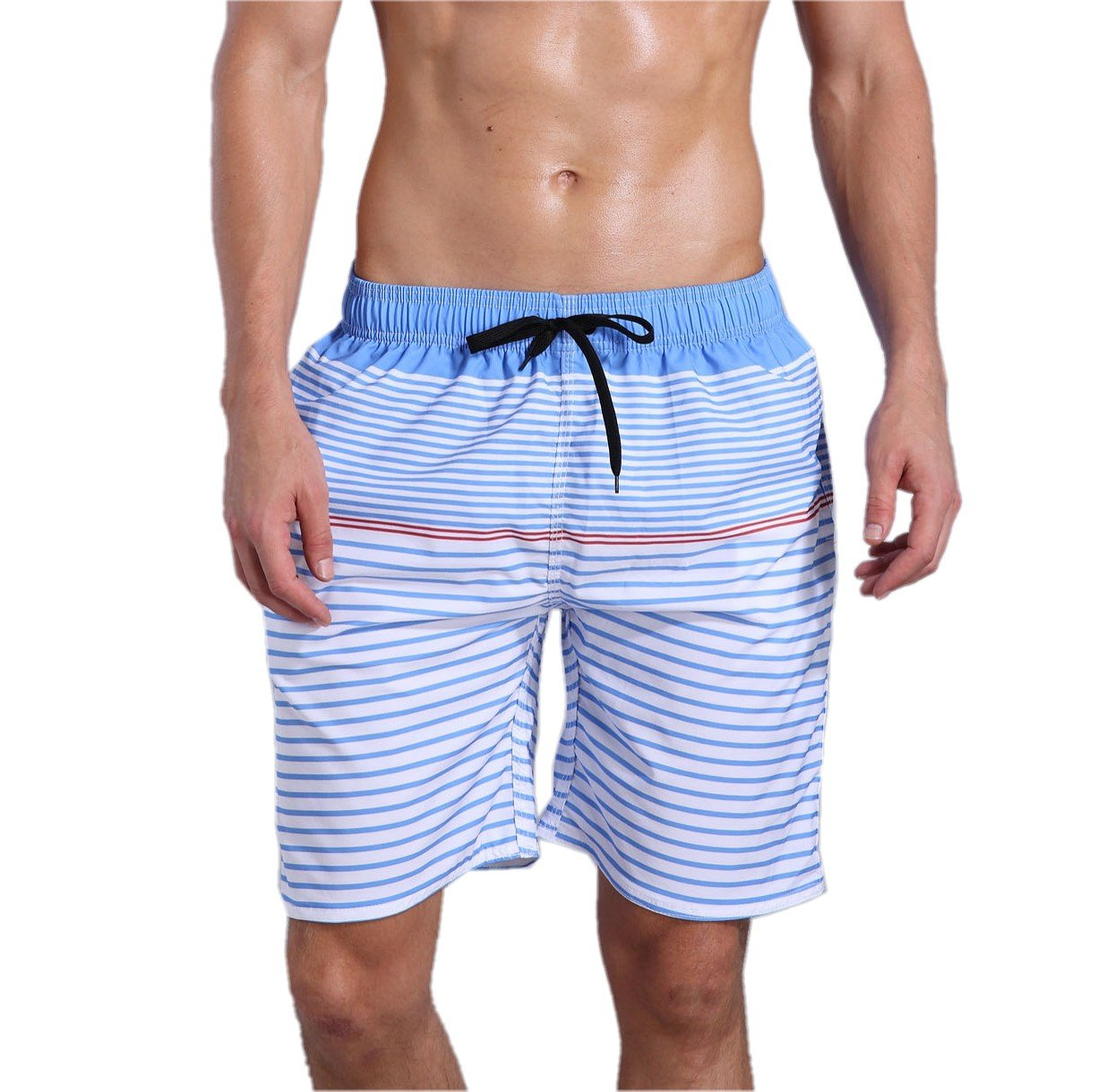 ORANSSI Men's Quick Dry Swim Trunks Bathing Suit Striped Shorts with Pockets,Blue,Medium / 34-36 Inches