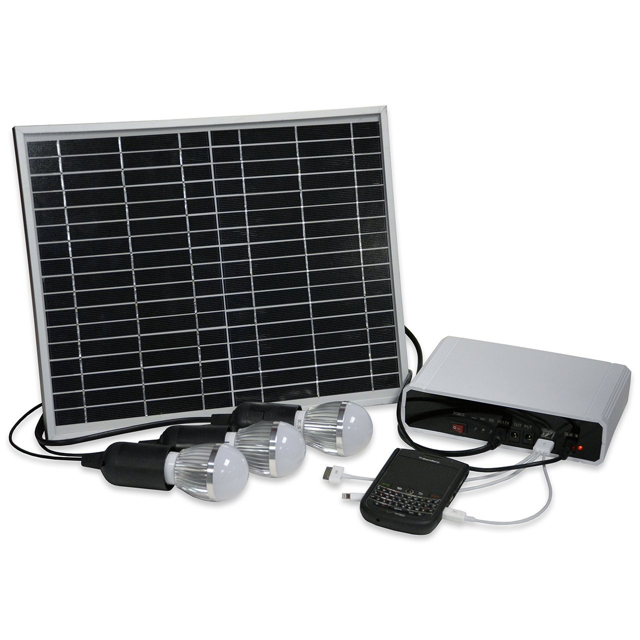 Image of Landscape Lighting Affirm Global IT118373 Rechargeable Solar Lighting System And Cell Phone Charger For Emergency/Camping