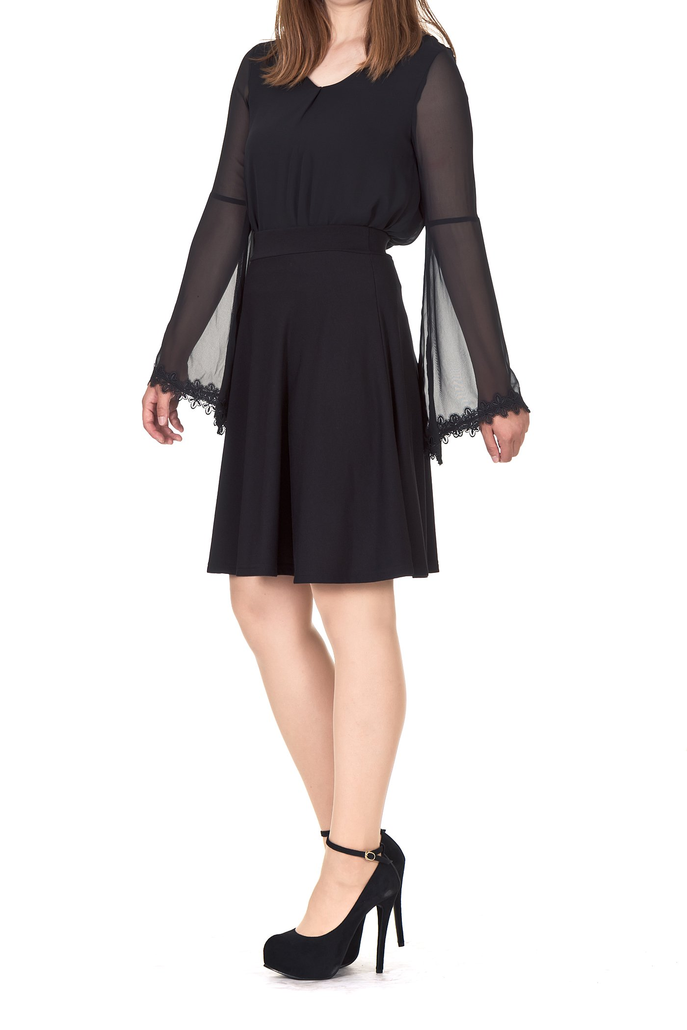 Simple Stretch A-line Flared Knee Length Skirt (XL, Knee Black) by Dani's Choice (Image #4)