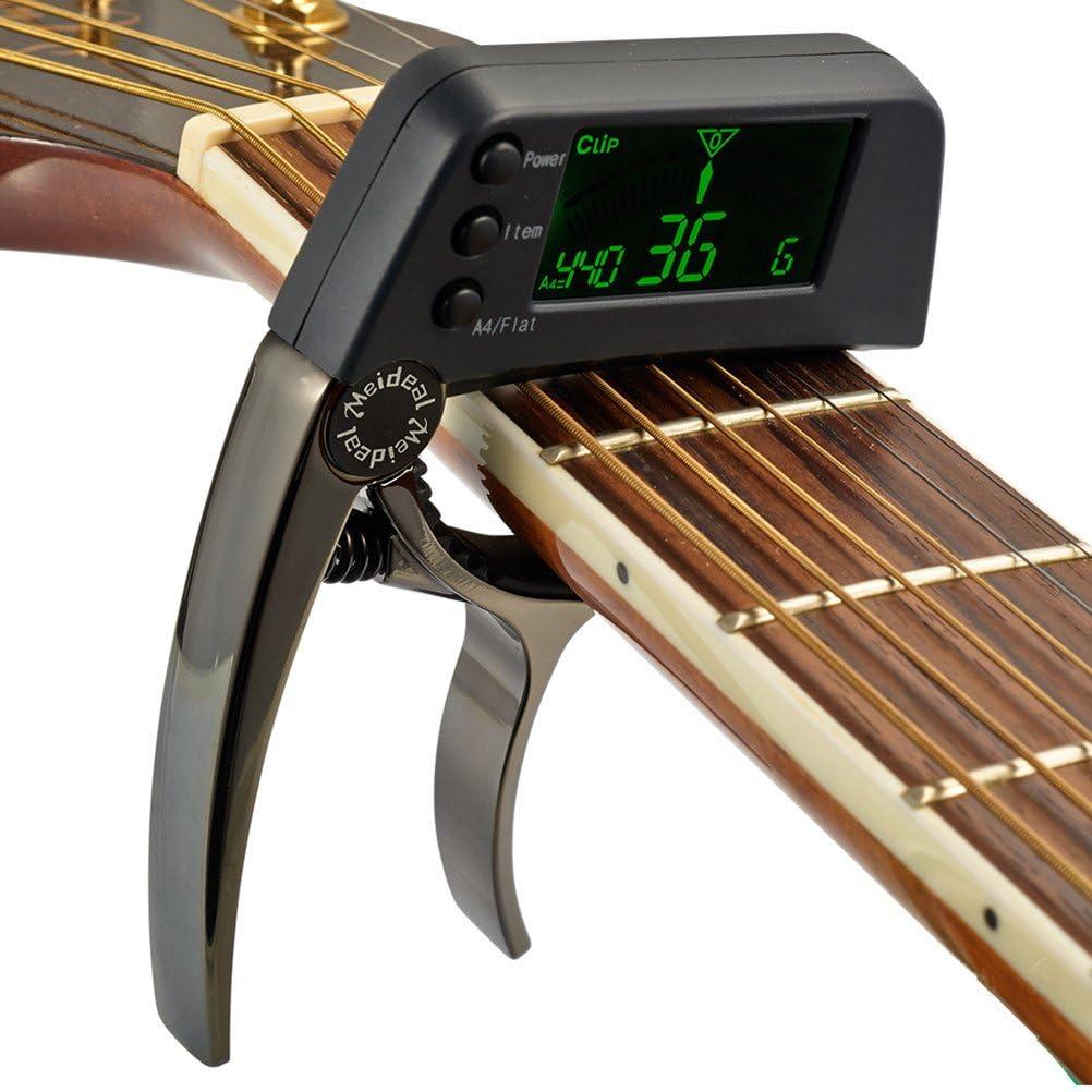 SUPVOX 2 en 1 Guitar Capo Afinador Clip en el afinador Cambio ...