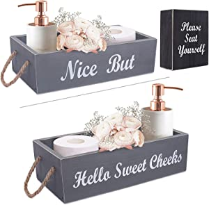 Bathroom Decor Box Farmhouse Toilet Paper Holder Basket 2 Sides Toilet Tank Tray Rustic Home Decor Wood Organizer with Funny Please Seat Yourself Bathroom Sign (Grey)