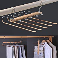 Foldable Space Saving Pants Hangers, Stainless Steel & Wooden Trouser Rack, Non-Slip 5 Layers Jeans Hanger for Closet…