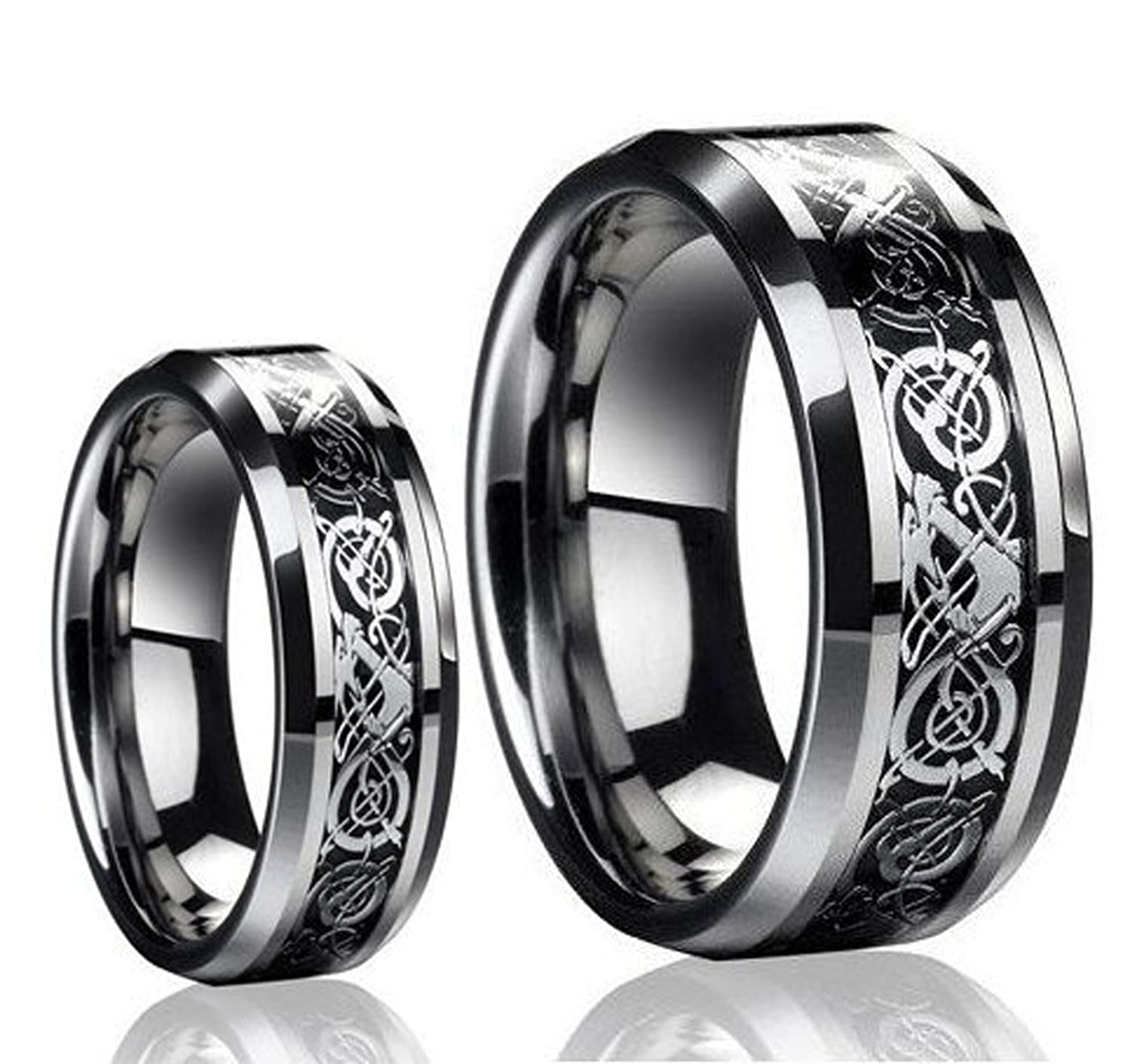 Men's & Ladie's 8mm/6mm the Celtic Loved Design Tungsten Carbide Wedding Band Ring Set (Available Sizes 5-13 Including Half Sizes