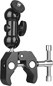 ChromLives Camera Mount Clamp Ball Head Mount Cool Super Clamp with 1/4''-20 Tripod Thread Double Ball Head Adapter for Ronin M Monitor Ronin MX Freefly MOVI Video Monitor LED Light
