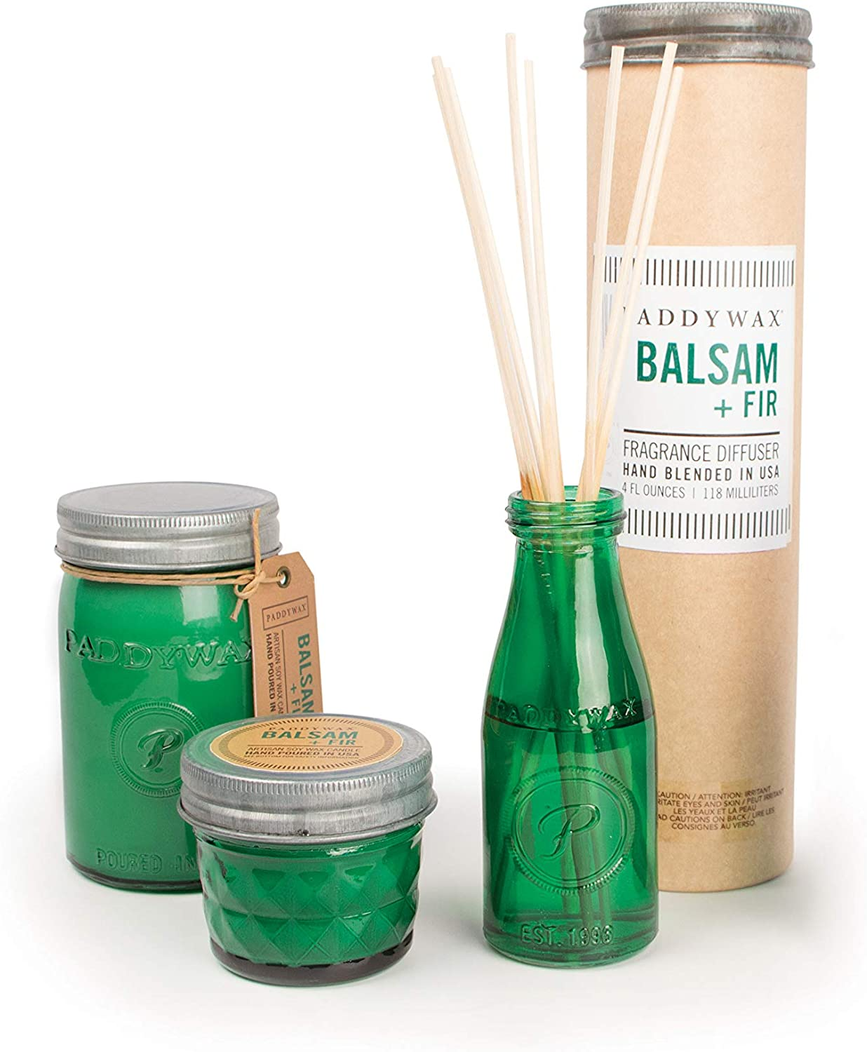 Balsam Small- 3 Ounce Fir RJ211Z Paddywax Candles Relish Collection Soy Wax Blend Candle in Glass Mason Jar