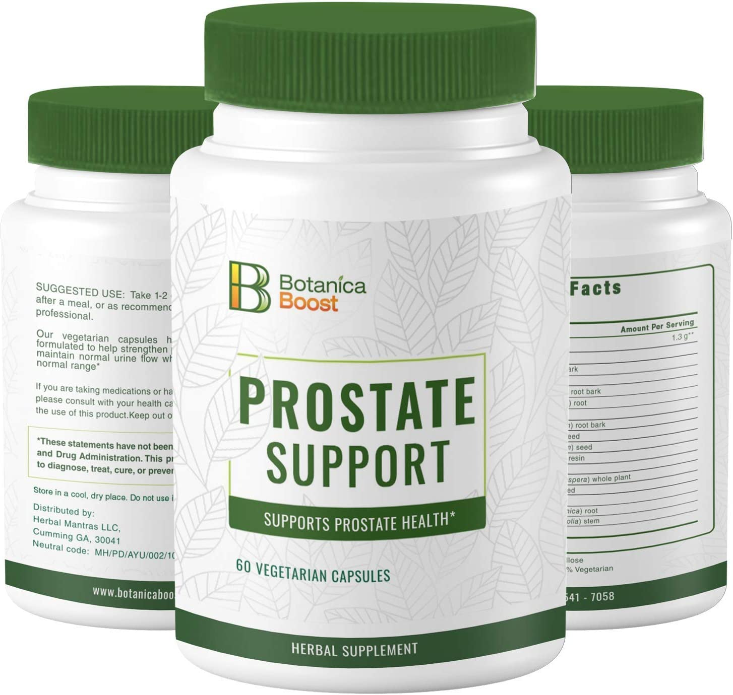Botanica Boost Prostate Supplement for Men – 1300mg Herbal Prostate Health Formula with Root Bark and Seed Extracts Supports Urine Flow Already in The Normal Range (60)