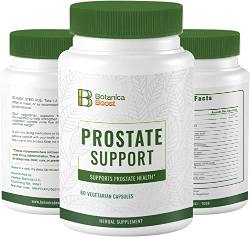 Botanica Boost Prostate Supplement for Men 1300mg Herbal Prostate Health Formula with Root Bark and Seed Extracts Supports Urine Flow Already in The Normal Range 60