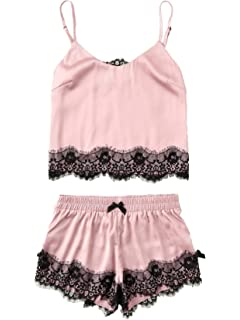 eca695100e ZHENWEI Womens Silk Sleepwear Satin Cami Shorts Sexy Nighty Pajama ...