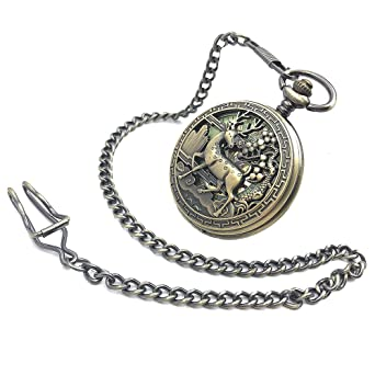 CAIFU Brand Bronze Tone Deer Case Roman Number Dial Luminous Hand Wind Mens Mechanical Pocket Watch