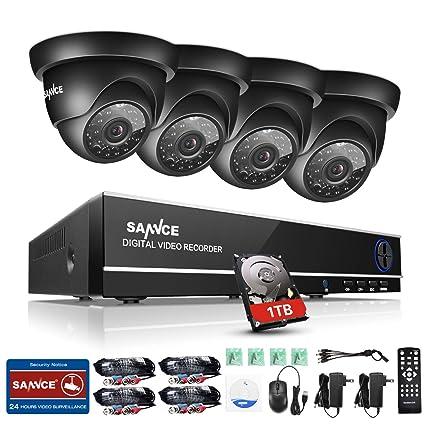 SANNCE Kit Sistema de seguridad (Onvif H.264 4CH DVR CCTV P2P TVI 720P