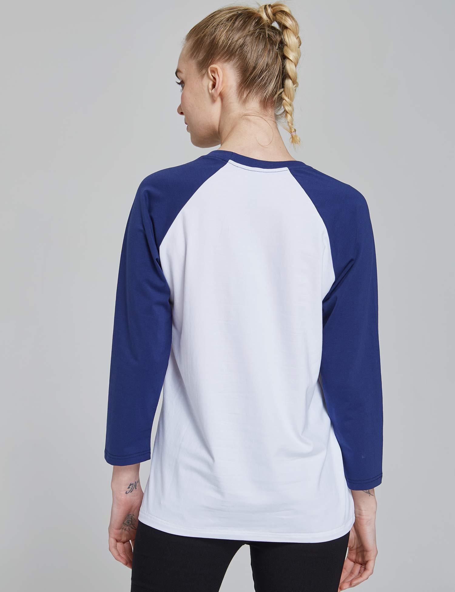 Suntasty Damen Langarmshirt 3/4 Ärmel Shirt mit Rundhals-Ausschnitt in verschiedenen Farben (SS001W/White and Blues)