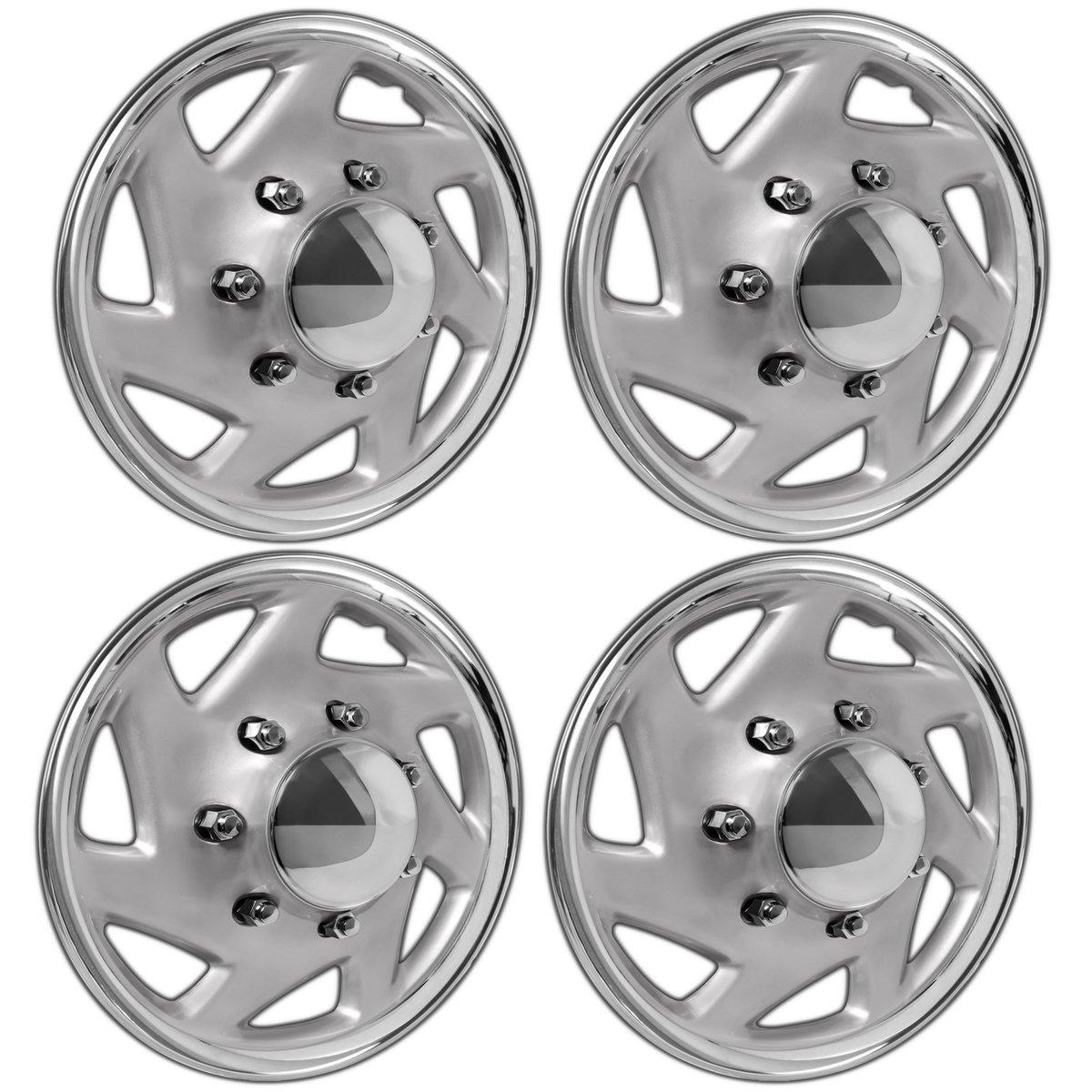 OxGord Hubcaps for Select Trucks & Cargo Vans (Pack of 4) Wheel Covers - 16 Inch, 7 Spoke, Snap On, Silver Chrome