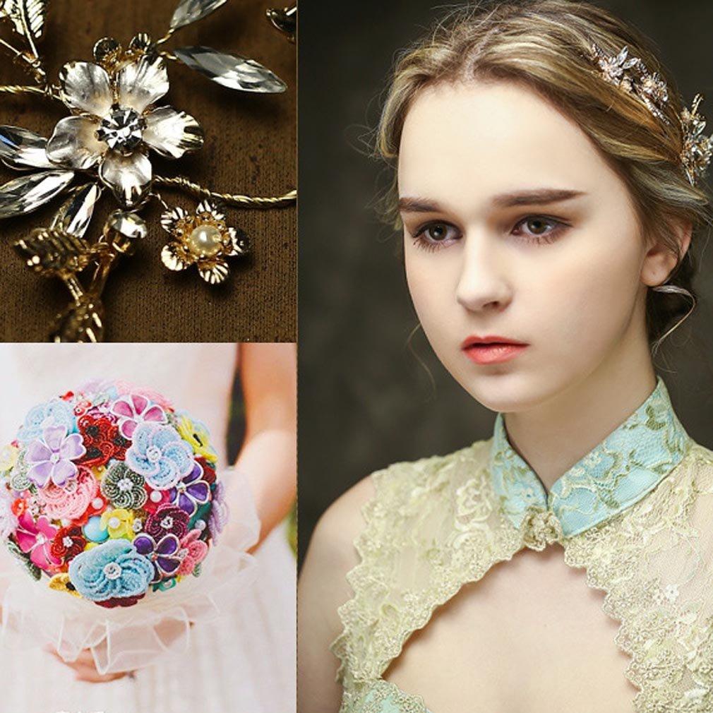 Yazilind Beauty Womens Bridal Wedding Hair Clip Barrette Party Rhinestone Flower Women Accessoires 1Pcs