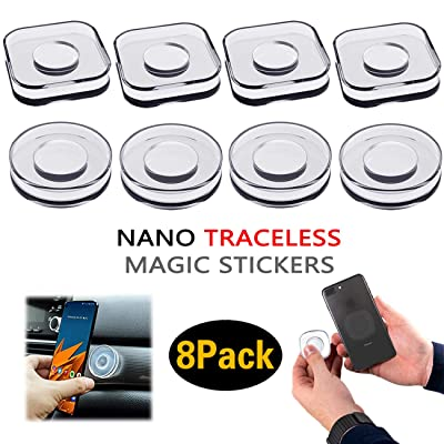 8 Pieces PJLJY Nano Magic Paste Phone Holder Nano Gel Pad PU Materia,Nano Casual Paste Reusable Traceless Magic Sticker for Car, Office, Home Storage of Various Small Device and Items [5Bkhe0811657]