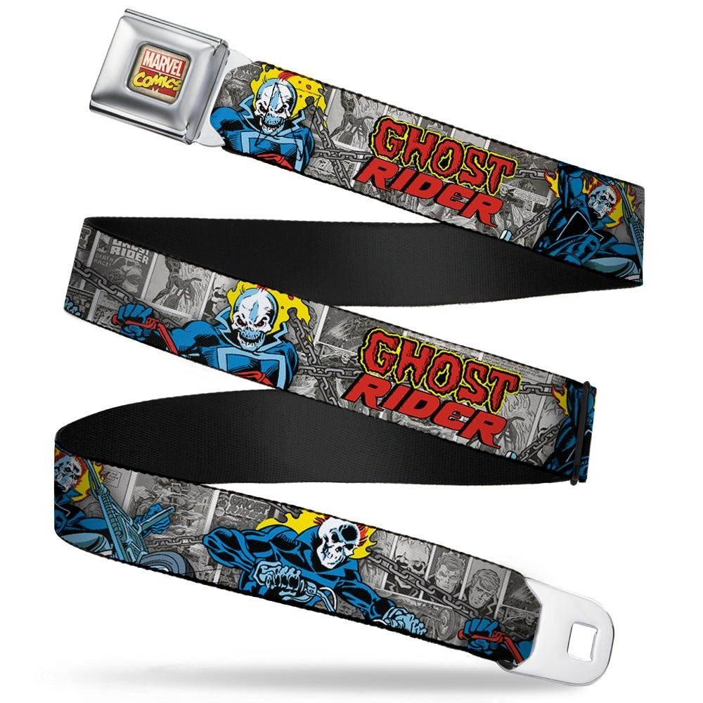 Buckle-Down Seatbelt Belt Classic GHOST RIDER 3-Riding Poses//Comic Blocks Grays//Yellow//Black//Red 1.5 Wide 32-52 Inches in Length