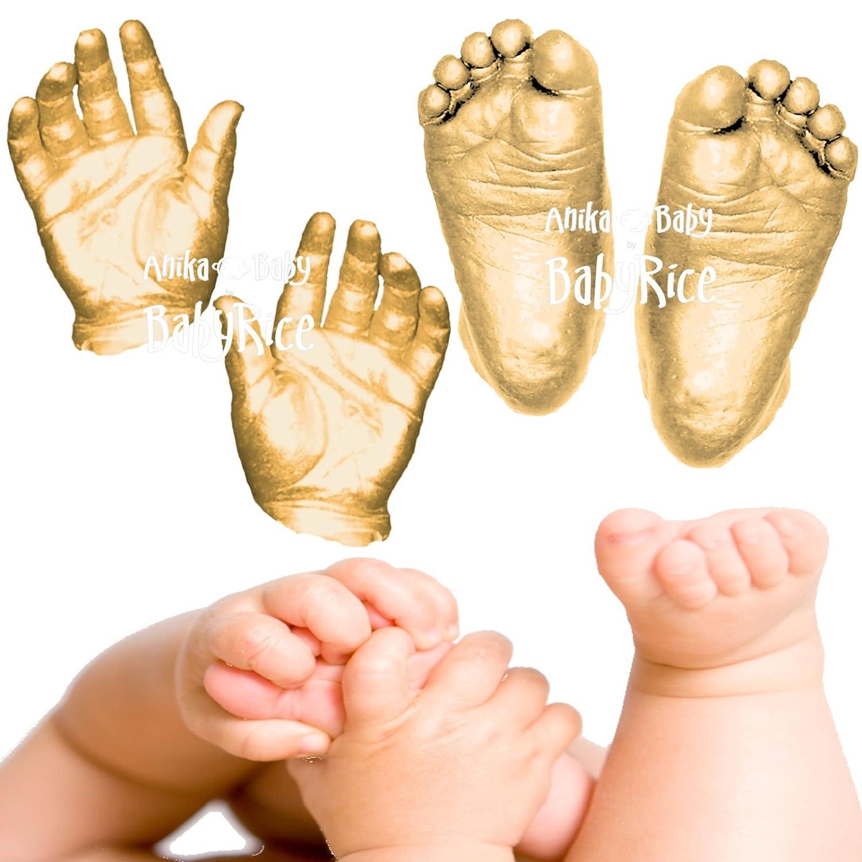 Anika-Baby BabyRice 3D Baby Casting Kit (Pack of 12, Large, Metallic Gold) 301.G
