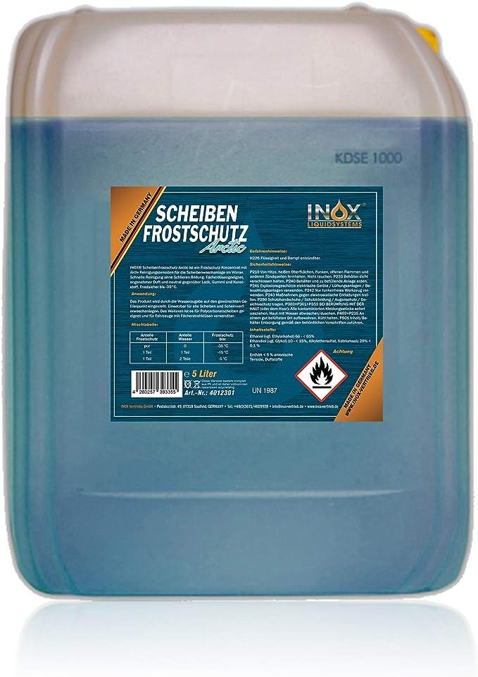 Inox Arctic Scheibenfrostschutz Konzentrat 5l Auto Frostschutzmittel Scheibenwaschanlage Für Scheibenwischwasser Bis 35 C Auto