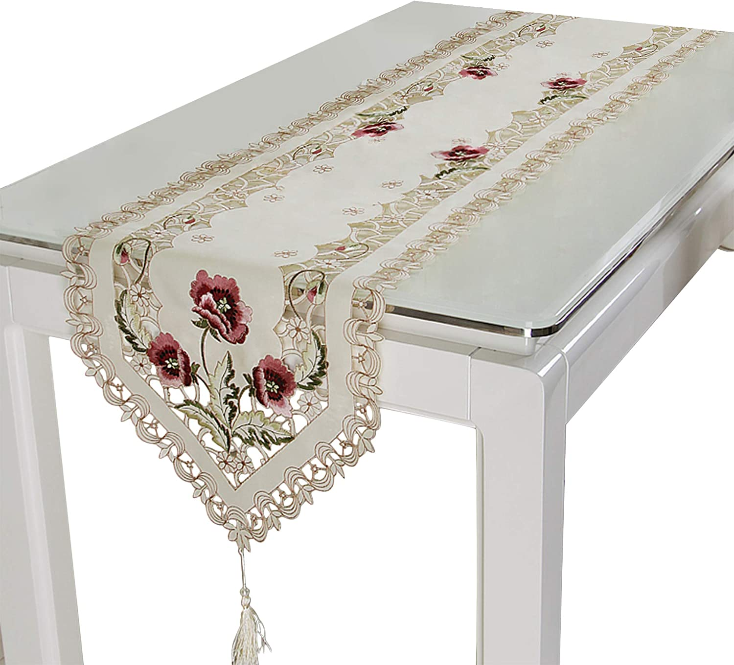 BeautiLife Vintage European Flower Lace Table Runner Elegant Runners Cabinet Room Dining Room Table Decoration