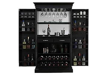 Aprodz Mango Wood Nucla Wine Storage Stylish Bar Cabinet for Bar | Black Finish