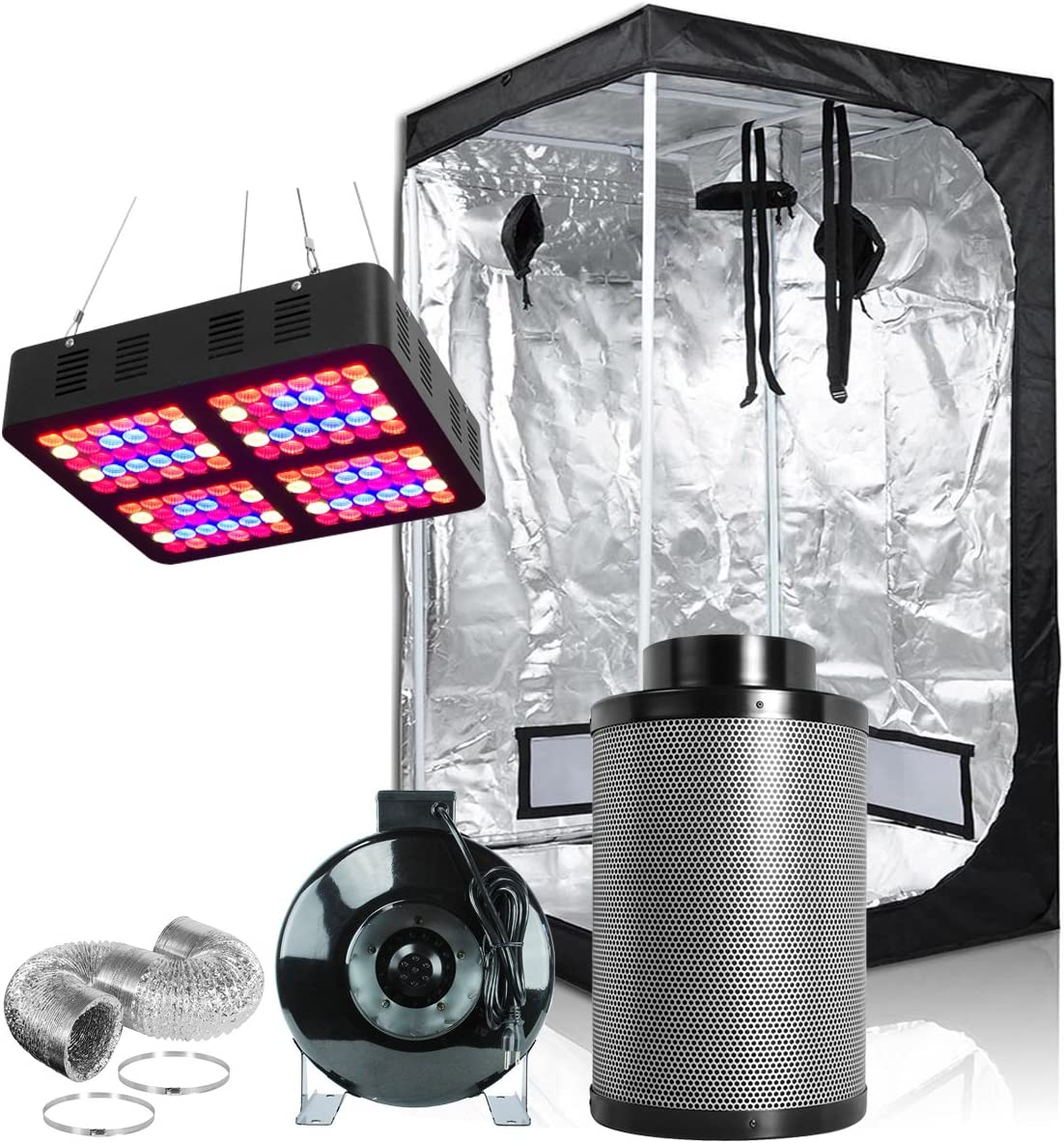 Hongruilite 600W Full Spectrum LED Grow Light 36 x36 x72 Grow Tent 4 Inline Fan Carbon Air Filter Ducting Combo for Indoor Plant Growing 600W LED 36 x36 x72 Grow Tent 4 Filter Kit