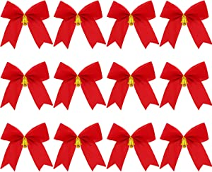 WILLBOND 4 x 5 Inch Red Velvet Christmas Bows Wreath Bows Christmas Tree Bows with Metal Bells and Swallow Tail for Christmas Decorations (24)