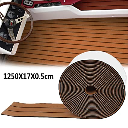 Bloomerang 1250X17X0.5Cm Long Brown Eva Foam Boat Flooring Faux Teak Decking Sheet Pad Rug
