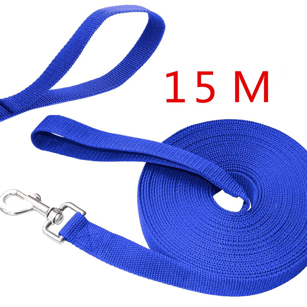 UEETEK 49 Feet Dog Obedience Leash/Training Agility Lead Leash Rope for Training Camping Backyard,(Blue)
