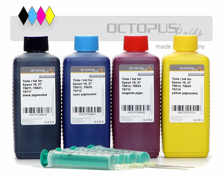 4 x 100 ml de recarga de tinta para impresoras Epson 16, 27, T061 ...