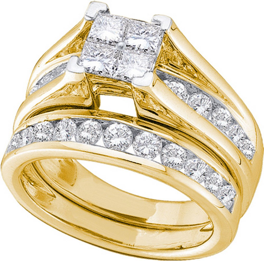 Size 7.5 - 10k Yellow Gold Princess Cut Diamond Bridal Wedding Engagement Ring Band Set (1/2 Cttw)