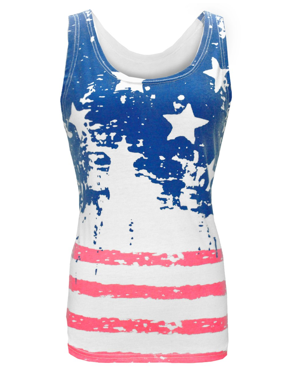 LaLaMa Womens sexy Stars & Stripes American Flag Tank Top Shirt (L, White 1)