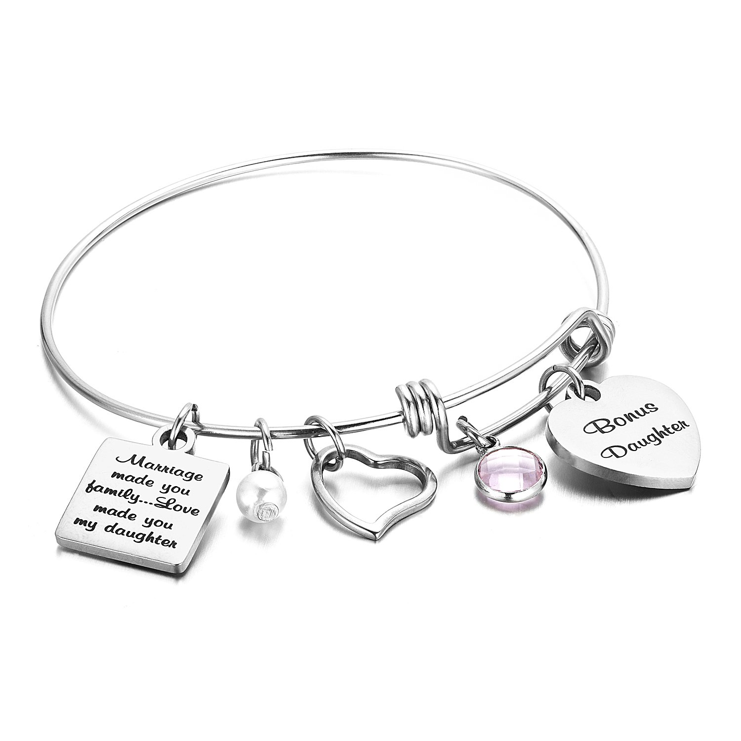 Step Daughter Bracelet, Daughter in Law Gifts Marriage made you Family Love made you My Daughter FAINOL