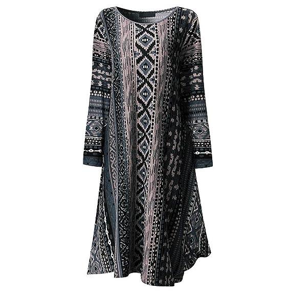 Longra Damen Boho Kleider Oversize Beiläufige Kleider mit Ethno-Druck Damen  Rundhals Lange Kleider Maxikleider 944c4075ec